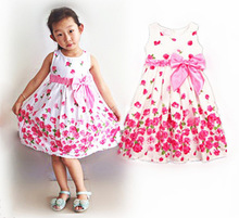 2016 New Arrival Cute Sweet Chic Round Neck Sleeveless Big Bowknot Flower Printed Girls Dress Cotton Knee-Length Kids Costume