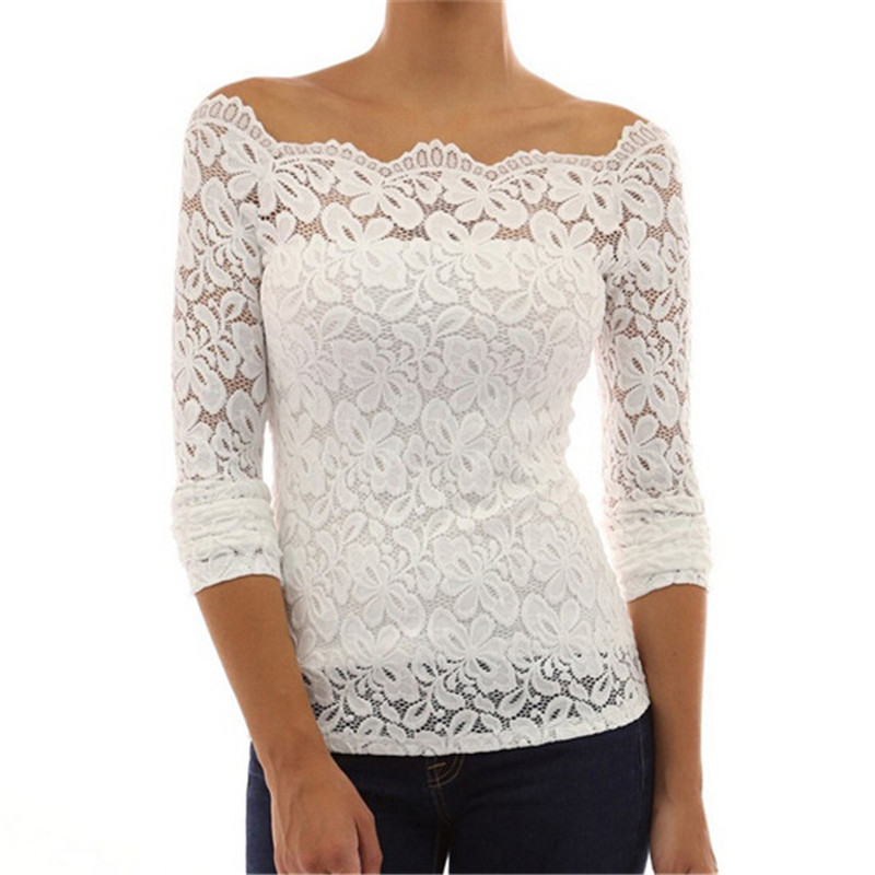 2015 Hot Women Shirts Fashion Long Sleeve White Lace ...