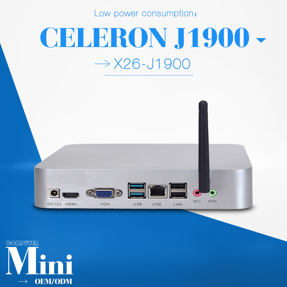 Low power low heat celeron J1900 4G RAM 320G hdd Embedded PC mini desktop fan thin client linux support performance 3D graphics(China (Mainland))