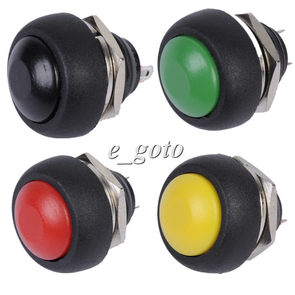 4pcs/Set Red Black Green Yellow 12mm Waterproof Momentary Contact Push Button Mini Round Switch 250V 1A<br><br>Aliexpress