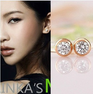 (Min order $9.9) titanium steel rose gold plated woman/lady shining Swiss Zirconia stud earring - Cici's Friends store