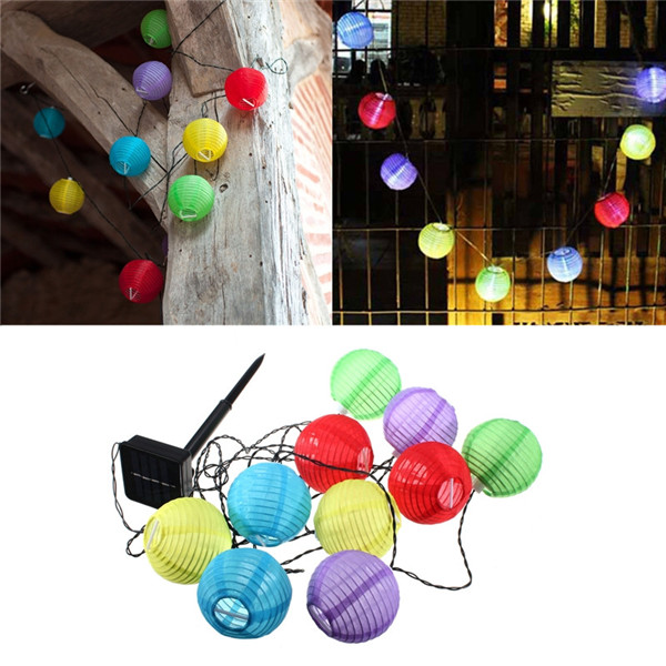 Hot Sale 10 LED Solar Power Chinese Lantern Garden String Lights Lamp for Wedding Party Holiday Decoration White Colorful(China (Mainland))