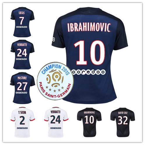 15 16 Five Champion Home Away 3rd IBRAHIMOVIC VERRATTI PASTORE DAVID LUIZ CAVANI T.SILVA Soccer Jersey FOOTBALL SHIRT 2015 2016(China (Mainland))