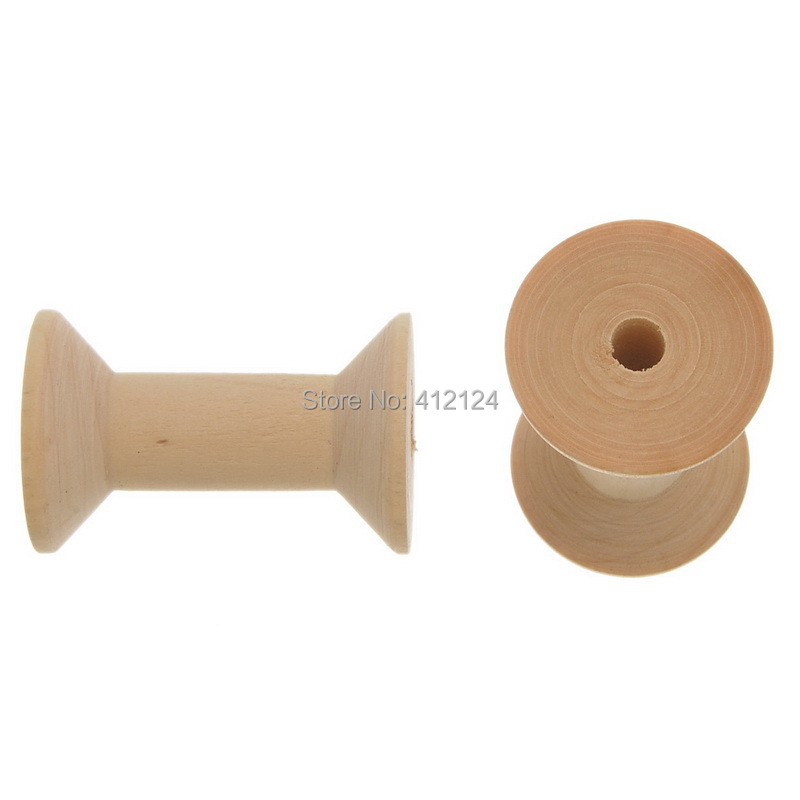 Natural Wood Empty Thread Spools Wooden Sewing Crafts Making Component Findings 47x31mm 10Pcs/lot(China (Mainland))