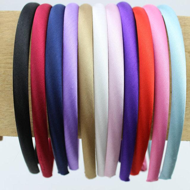 wholesale--1cm width solid satin cloth headband  pure color  fabric plastic hairband DIY hair accessories