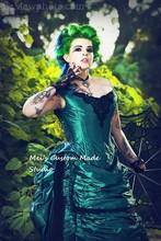 1800 Green Black Gothic Steampunk Victorian Bustle Reproduction 3pce Set/Party Dress/Wedding&Bridal Dress/Event Dress