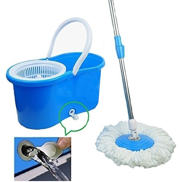 New Practical 360 Degree Rotating Spin Mop Bucket 2 Microfiber Heads Spinning Easy Magic Mops Set Sale J2Y(China (Mainland))