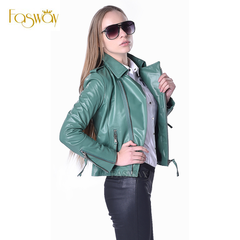 Factory Women's Leather Jacket Genuine Sheepskin 5 Colors Fashion Slim Fit Short Lady Leather Coat For Women Autumn Spring ZH073(China (Mainland))