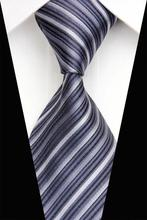 NT0434 Gray White Striped Smooth New Jacquard Woven Classic Silk Polyester Man s Business Luxury Tie