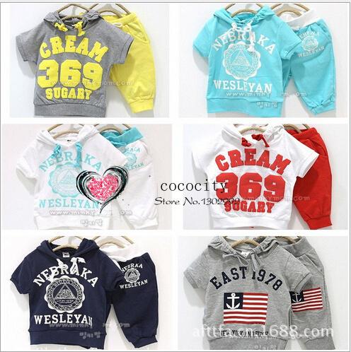 2014 новых прибыть девушки парни 369 детей комплект одежды детская одежда с коротким ...