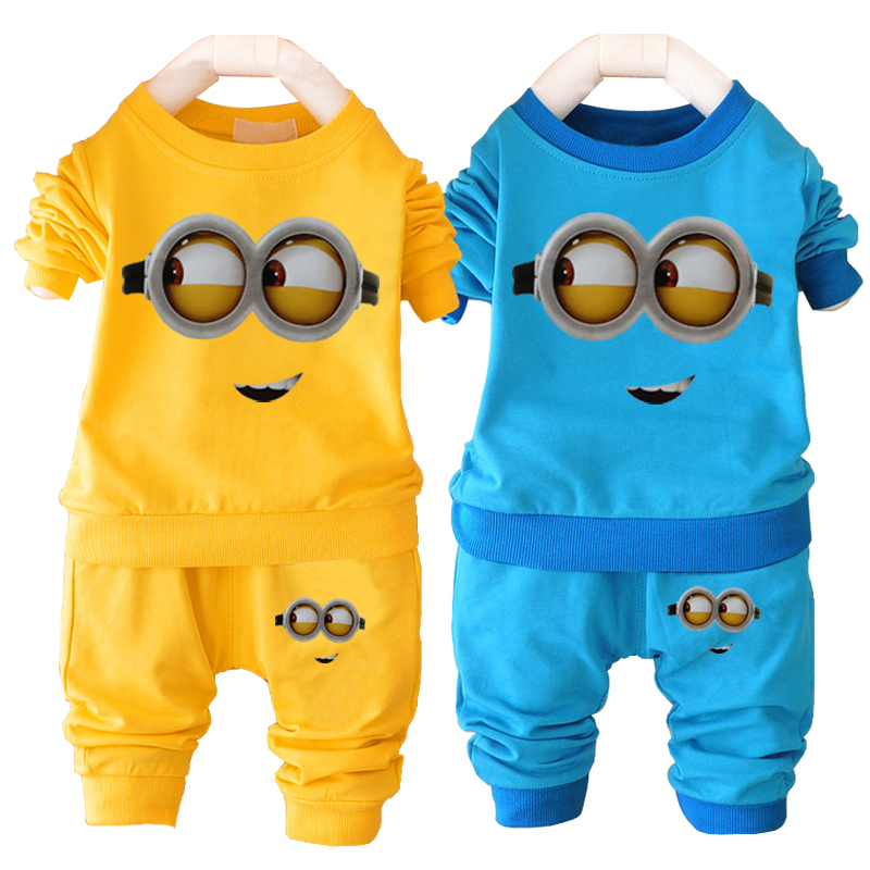 Unisex baby boys girl clothes despicable me minion baby clothing set name brand children clothing sets casual infant sport suit(China (Mainland))
