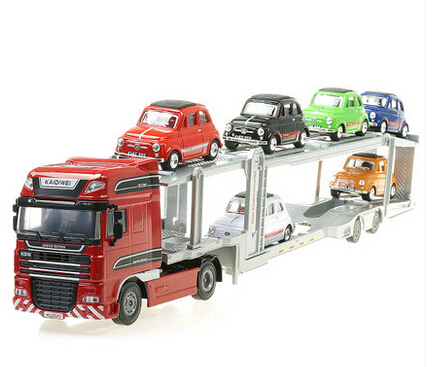 NEW 1:48 truck alloy car model children's toy car truck trailer metal emulation car It contains six small car(China (Mainland))