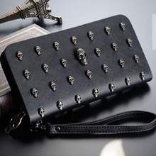 Personality Vintage Men and Women Wallets Long Leather Purse Retro Clutch Wallet Punk Skull Rivets Men Wallets