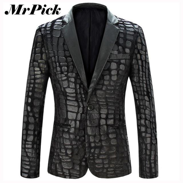Мужчин пиджак куртка 2015 новый бренд свободного покроя искусственной кожи сращены ...