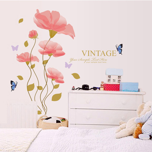 Bedroom, living room sofa bed decorative background elegant flowers Symphony Flower wall sticker wall stickers 1701(China (Mainland))