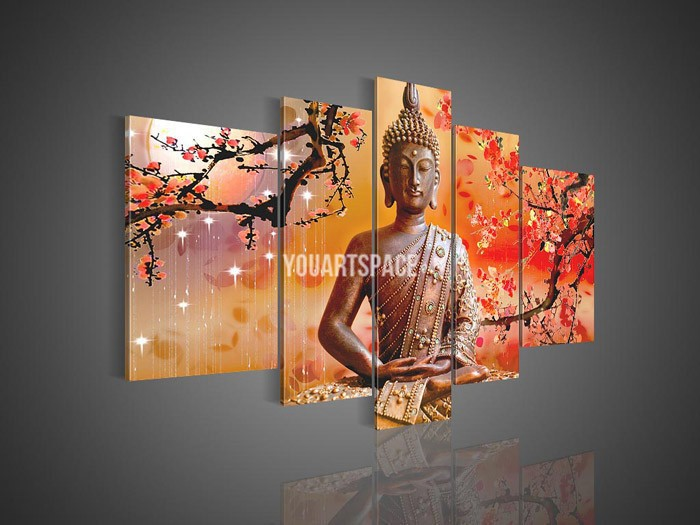 5 panel wall art religion buddha oil painting on canvas