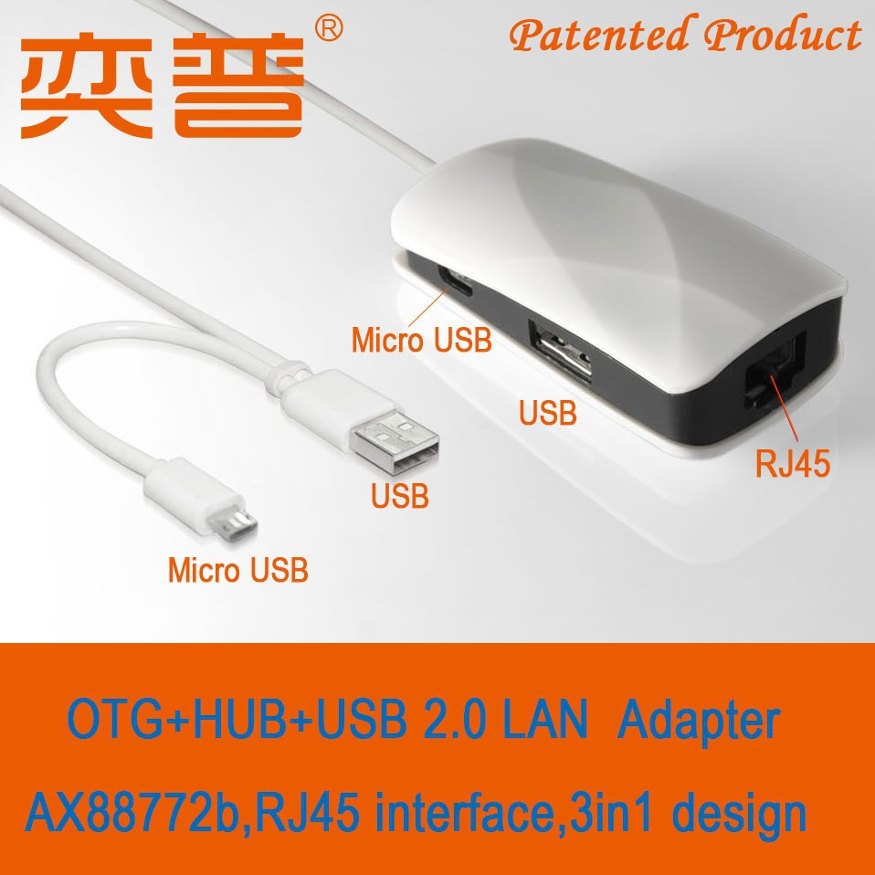 2 pieces Patented Products OTG cable 2 ports HUB USB 2.0 LAN to RJ45 Ethernet adapter 3in1 adapter(China (Mainland))