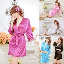 Sexy Women Grown Sleep Wear Rayon Silk Sleepwear Nightdress Robes Pajamas(China (Mainland))