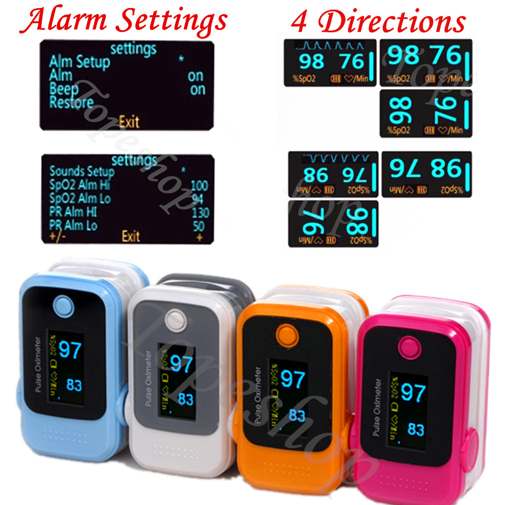 10 pieces/Lot colorful OLED Alarm Fingertip Pulse Oximeter SpO2 Blood Oxygen Saturate Heart Rate Monitor Health Care(China (Mainland))