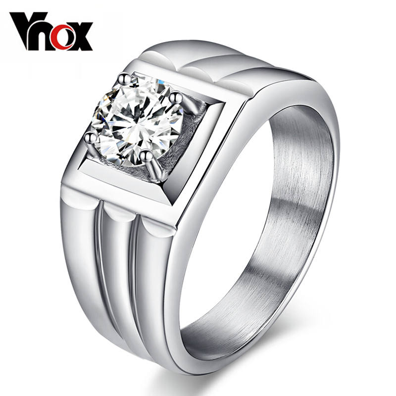 CZ Synthetic Diamond Men's Ring Stainless Steel Jewelry Wedding Bands Engagement Rings USA Size