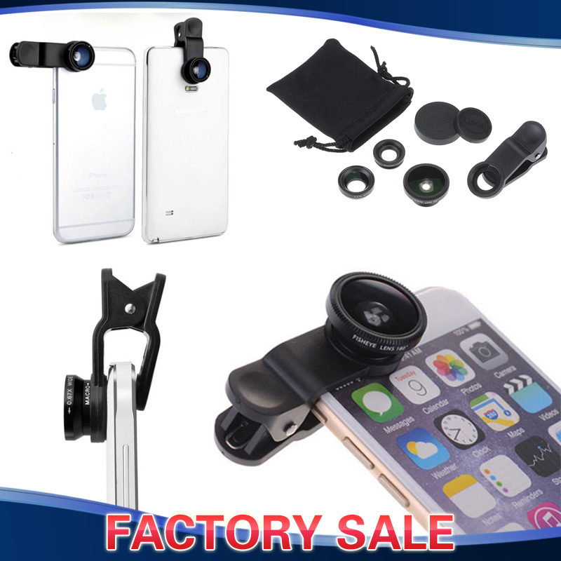 Clip-On Smartphone Lens Kit Set 3in1 Fisheye len + Wide angle len + Macro len for iPhone 6 5 3 Samsung Galaxy Note Sony Xperia