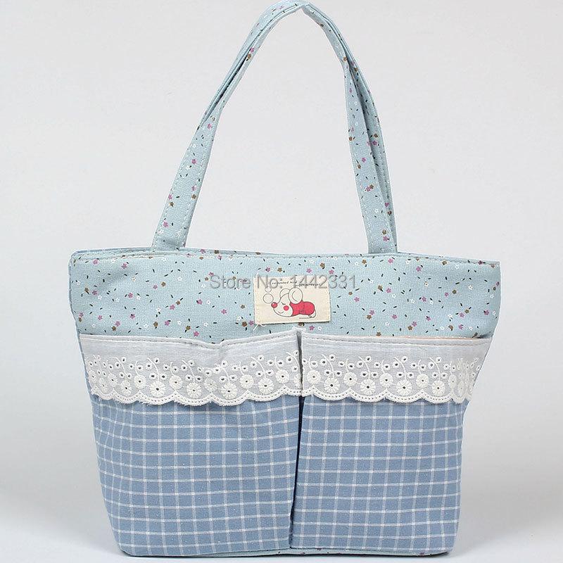 "LIGHT BLUE grid New medium 12.5"" long Korean Japan Style canvas Women Lady Tote Shopping Bag handbag Cute animal zipper(China (Mainland))"