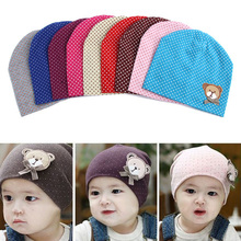 2015 Dot Pattern Baby Hat Winter Knitted Baby Beanies For Child Kids Boys Girls Toddler Cotton Cap Infants Hat (China (Mainland))