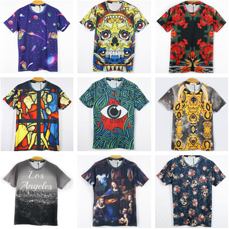 2015 New arrive fashion 3D Cotton print LOS Angeles/skull/Jesus/big eye funny T-Shirt Men crew neck T shirt TEE Clothes(China (Mainland))