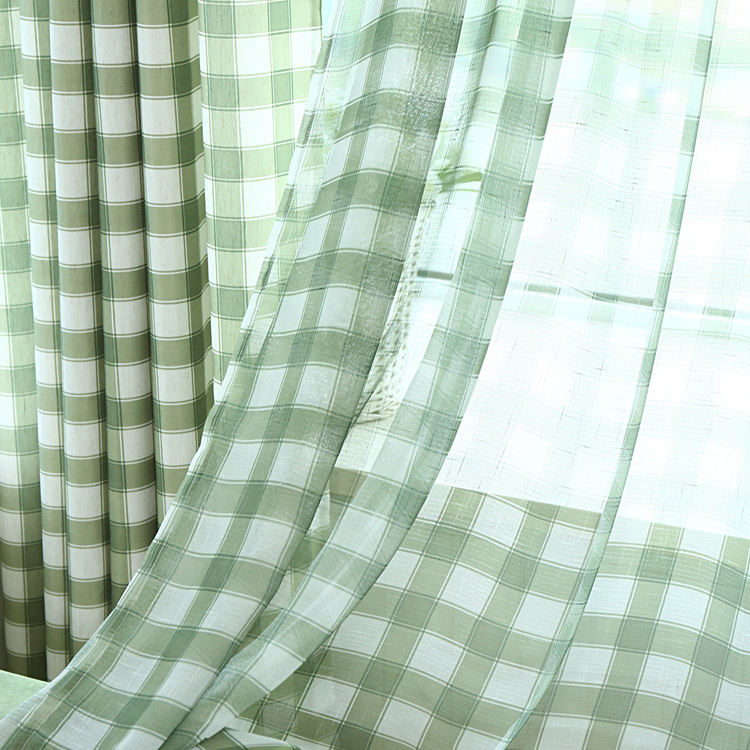 Green Grid Stripe Splicing Contracted and Contemporary Ikea Customized Special Sitting Room Bedroom Window of Cotton and Linen(China (Mainland))