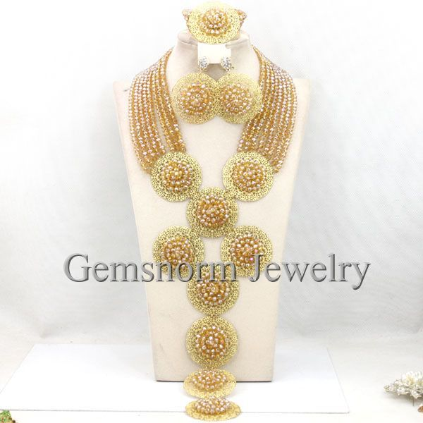 Luxury Champagne Gold Wedding Beads African Jewelry Sets 18K Dubai Bridal Costume Necklace Set New Arrival Free Shipping WB465(China (Mainland))