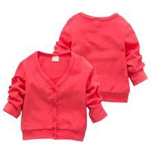 2018 nuevo bebé niños ropa niños niñas Color caramelo punto Cardigan suéter niños primavera otoño algodón ropa exterior 5 colores(China)
