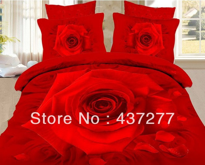 romantic red rose wedding bedding set of bed queen full size polyester reversible duvet cover flat sheet comforter sets 4/5piece(China (Mainland))