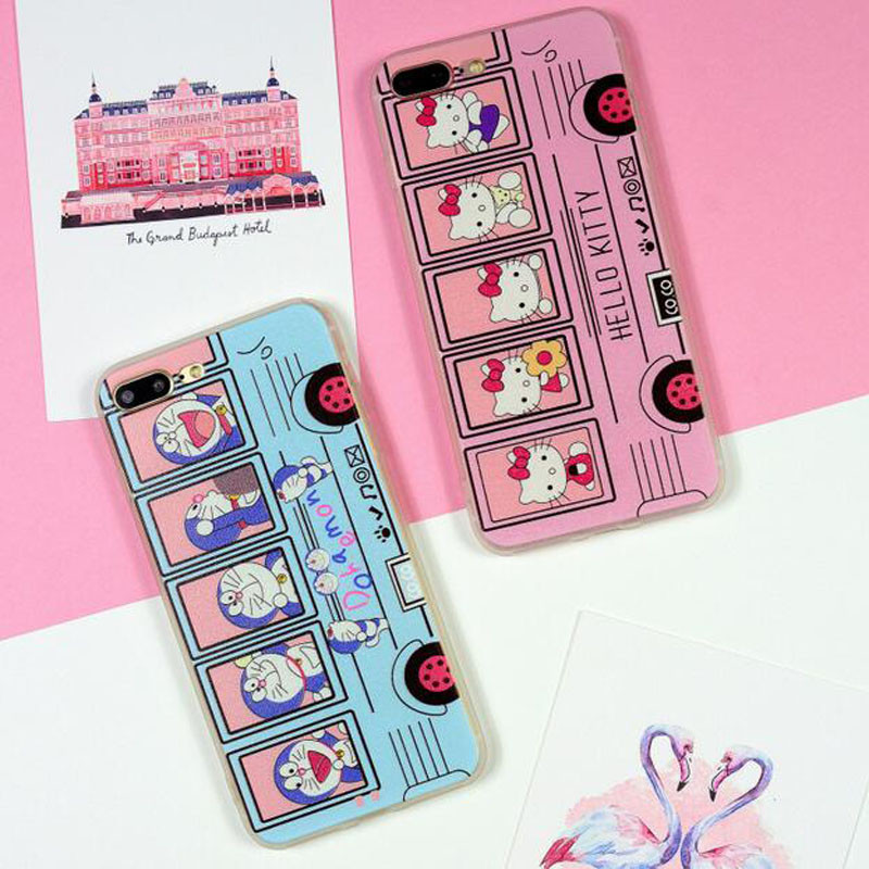 Cartoon Hello Kitty Bus Phone Cases For iPhone 5 5s 5se 6 6s 7 Cute iPhone Case Silicon Soft Back Cover For iPhone 6plus 7plus(China (Mainland))