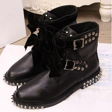 Brand Genuine Leather Motorcycle Boots Biker Shoes Women Lace-Up Suede Pointed Snow Boots Brand Shoe Famous Designer Woman Flats(China (Mainland))