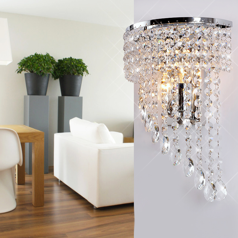 Luxury Half Wing Crystal Hanging Bedroom Wall Light Free Shipping Modern Stainless Steel