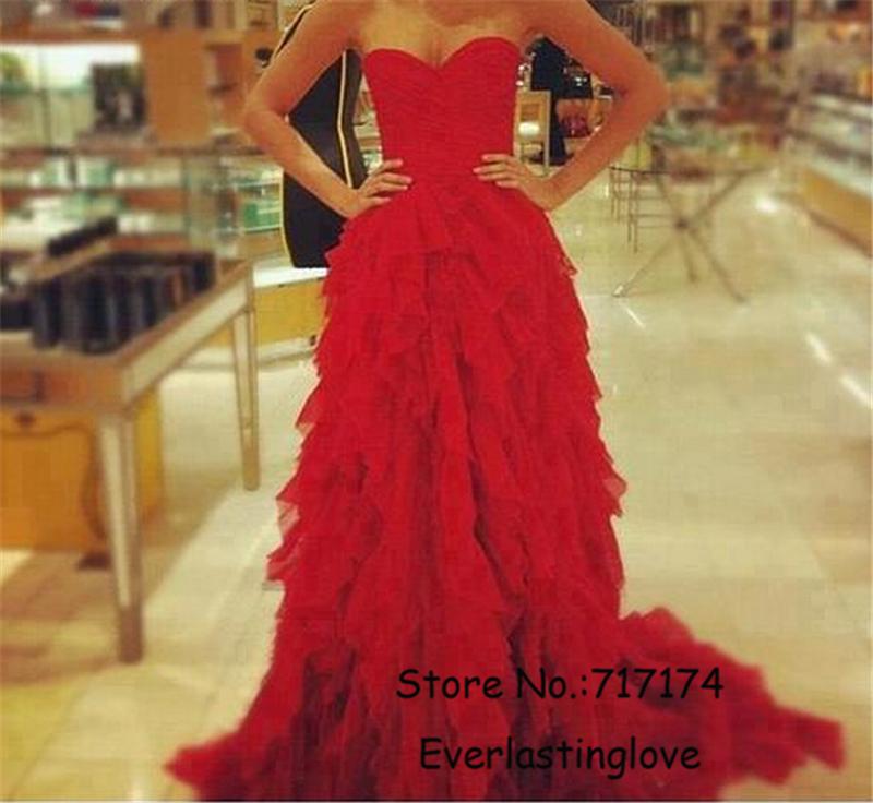 Привлекательный красный милая оборками тюль длина пола пром платье с поезда суда вечерние платья