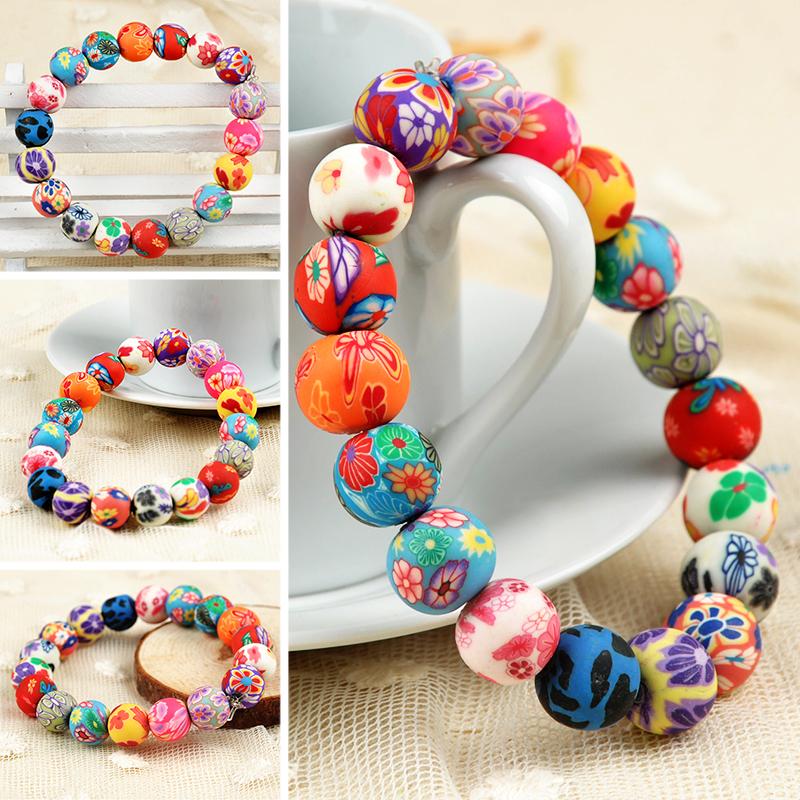 2015 Fashion polymer clay bracelets round bead stretch bracelets Bohemian colorful beaded Bracelets & Bangles Jewelry F60SS0059(China (Mainland))