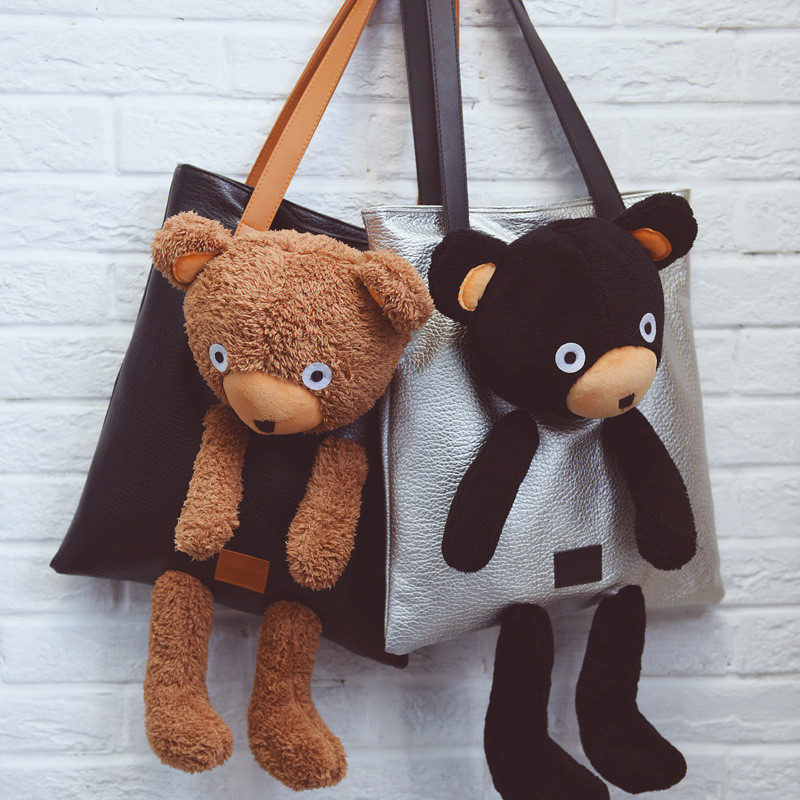 YILE PU Leather Shoulder Bag Shopping Tote Stuffed Bear Applique 3 Colors to Choose NN6015(China (Mainland))