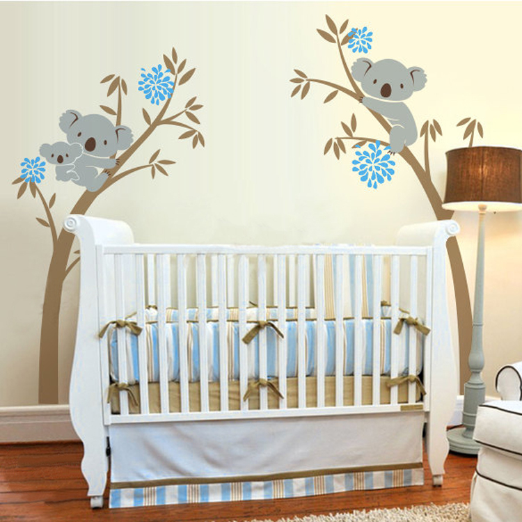 Oversize koala bear vinyl wall decal tree sticker for baby for Baby room decoration wall stickers