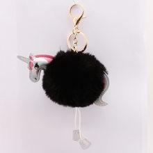 QiYuFang Bonito Fluffy Unicorn Keychain falsa Pele De Coelho Pom Pom Bola Acessórios Chave Anel Chave Cadeia Saco de Mulheres Por Atacado(China)
