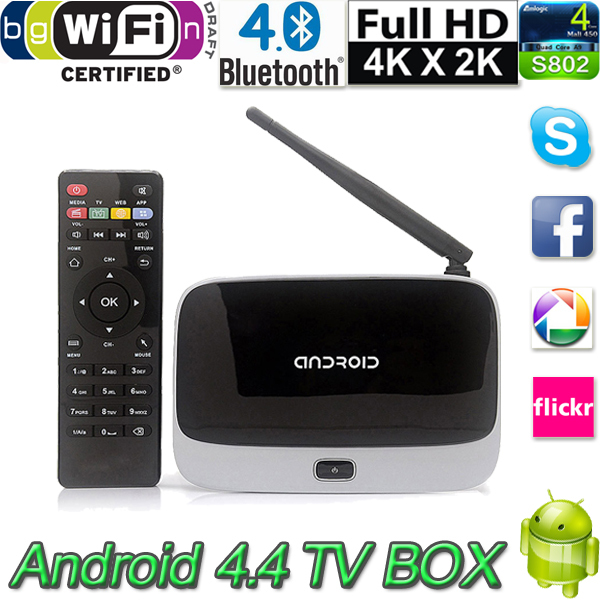Android 4.4 TV Box Media Player Quad Core 2GB/8GB with Remote Control XBMC WiFi 1080P CS918 Tv Receivers for Free Shipping(China (Mainland))