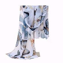 New Design Colorful Fashion Size160*45cms Butterfly Animal Pattern Printing Women Scarf Shawls Chiffon Femme Girls Echarpe Cape(China (Mainland))
