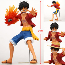"Buy Free Big 13"" One Piece X-plus New World Monkey D Luffy Fire Fist Battle Ver. Boxed 32cm PVC Action Figure Model for $65.99 in AliExpress store"