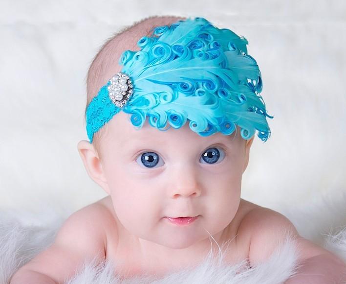 Hot Sale Baby Girl Kids Infant Peacock Feather Headband Flower Hairband Hairdress Headwear Headband Hair Band Accessories xth042(China (Mainland))