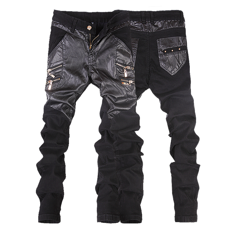 2015 fashion men's skinny patchwork leather pants male slim motorcycle leather jeans mens skinny slim black trousers size 28-38(China (Mainland))