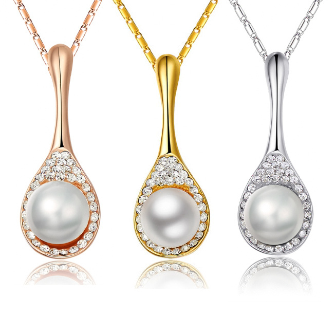 Free shipping Women Soup spoon 18k gold plated Import Czech Diamond AAA quality Pendant necklace fashion Jewelry Drop shipping(China (Mainland))