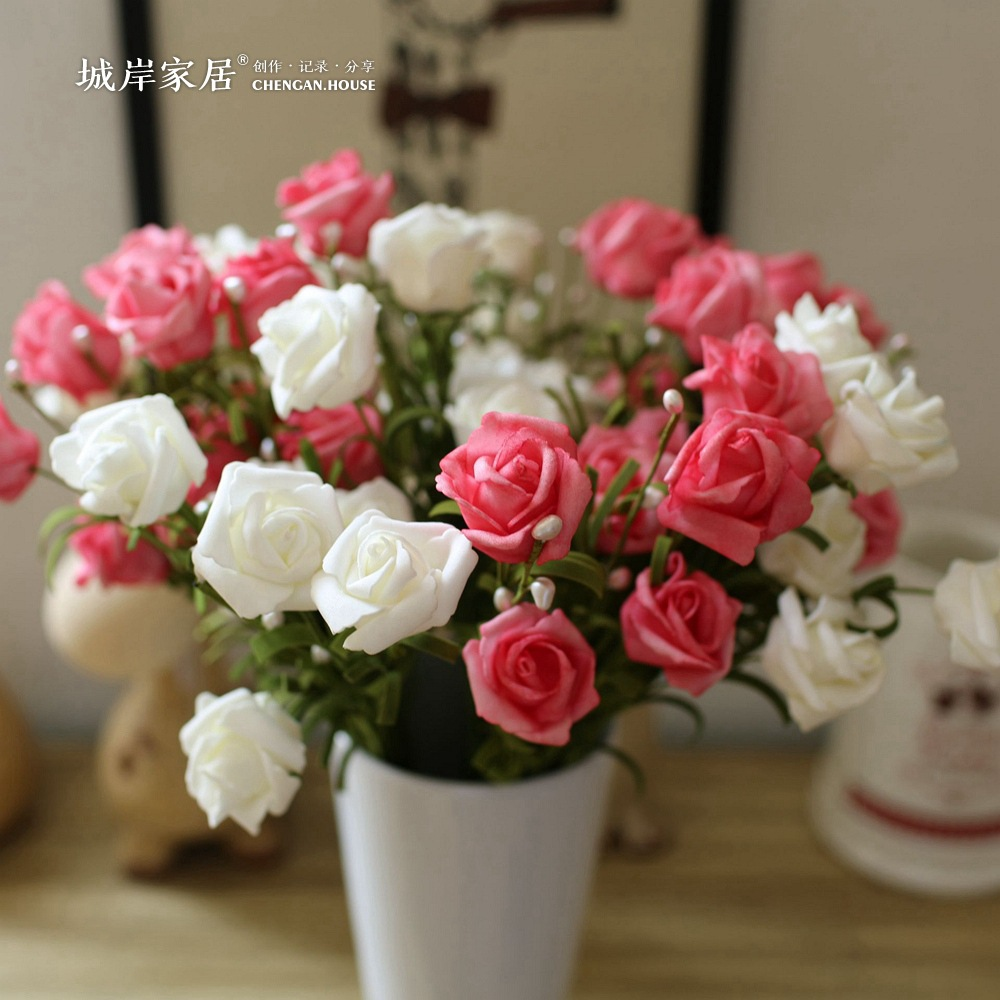 Spring Pearl Rose Flower 10 Pieces silk flowers with Leaves Flower Bouquets Real touch flowers For Home Wedding Decoration F26