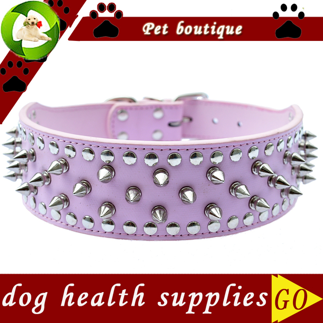 Personalized Pitbull Spiked Dog Collar 2 Inch Wide Pu Leather Collars For Dogs Large Pet Products Dog Health Supplies