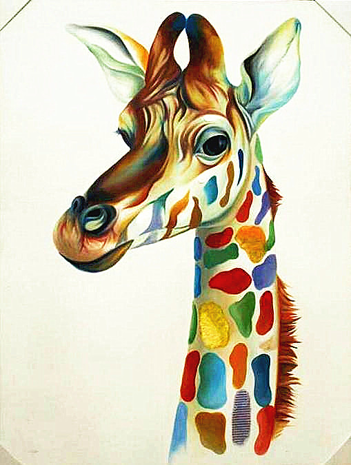 Hand-painted Modern New Animal Canvas Art Painting Home Decor Abstract Oil Painting Giraffe DP-015(China (Mainland))