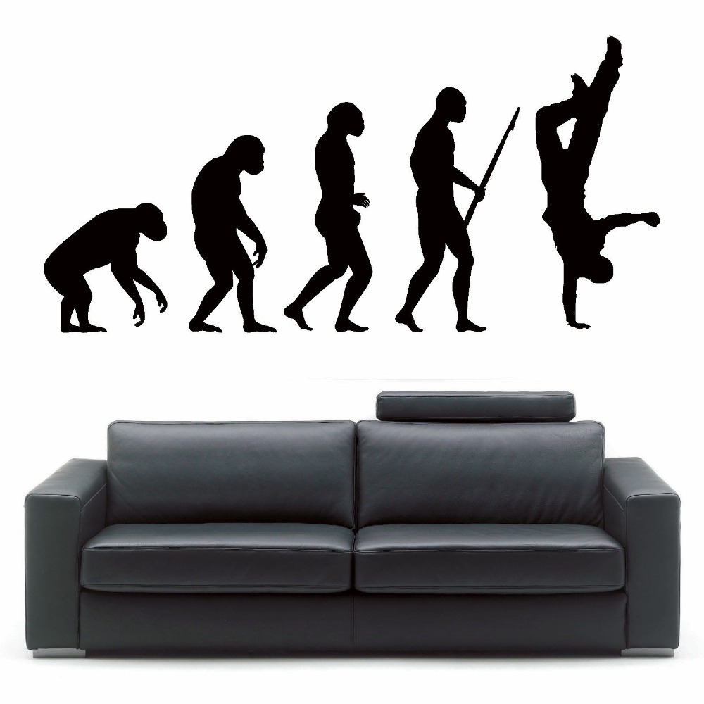 hip hop stickers for room promotion shop for promotional hip hop large size boy s bedroom wall decals mural darwin evolution of man street dance hip hop wall art vinyl sticker room decal d347